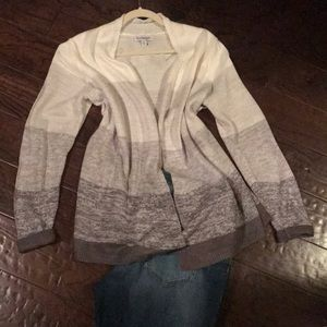 Soft grey and white open cardigan sweater